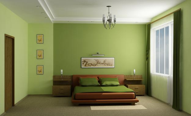 Покраска стен зеленым цветом