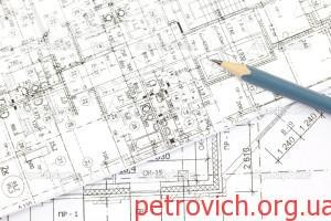 фон из архитектурных чертежей и карандаш