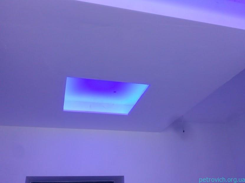 Монтаж гипсократнонного потолка и скрытой подсветки