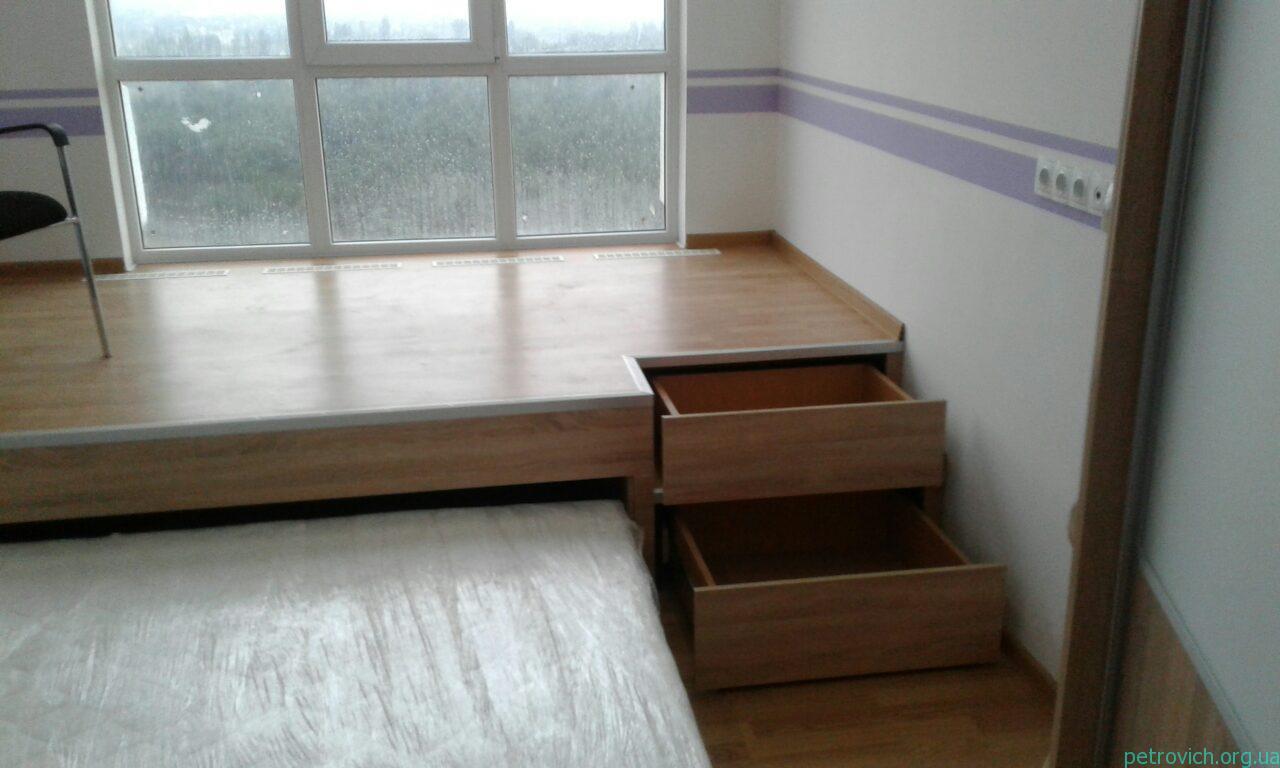 Изготовления подиума со встроенной кроватью