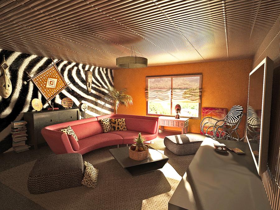 Африканский стиль интерьера потолок